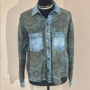 Free People Long Sleeve Paisley And Denim Shirt